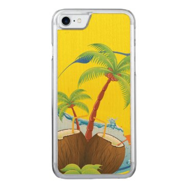 Beach Themed Coconuts Carved iPhone 8/7 Case