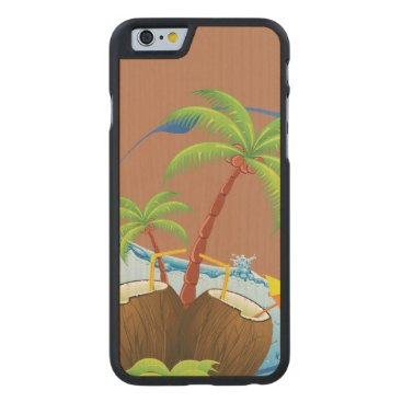 Beach Themed Coconuts Carved Maple iPhone 6 Case