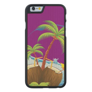 Beach Themed Coconuts Carved Maple iPhone 6 Slim Case