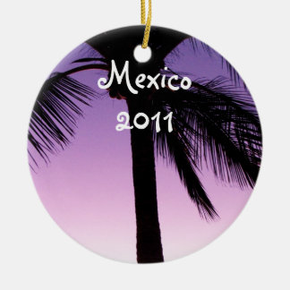 Coconuts in the Wind; Mexico Souvenir Double-Sided Ceramic Round Christmas Ornament