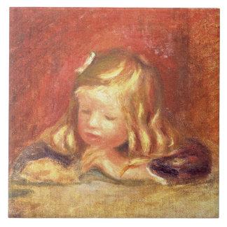 Cocos en la tabla (lectura) de Claude Renoir 1905  Azulejo Cuadrado Grande