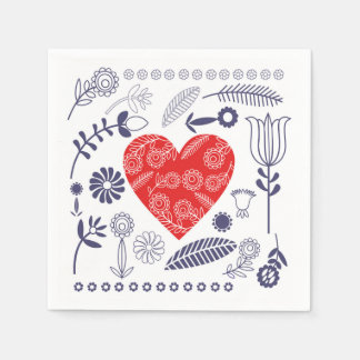 Cocotail Paper Natkins with Heart Napkin