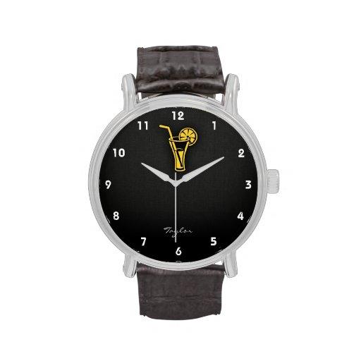 Cóctel ambarino amarillo relojes de pulsera