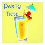 """Cóctel colorido de la bebida del paraguas invitación 5.25"""" x 5.25"""""""