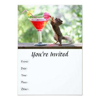 Cóctel de consumición de la ardilla invitacion personalizada