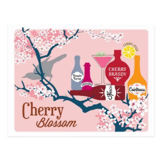 Cóctel de la flor de cerezo tarjetas postales