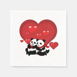 Cóctel de los corazones de los pares de la panda servilletas desechables