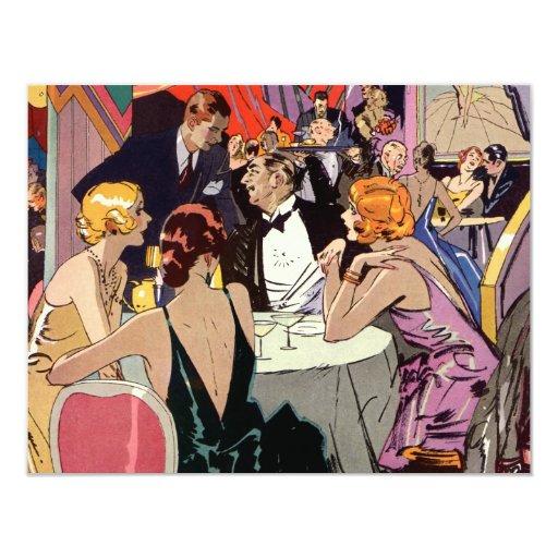 Cóctel del club nocturno del art déco del vintage invitación 10,8 x 13,9 cm