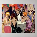 Cóctel del club nocturno del art déco del vintage posters