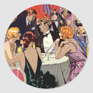Cóctel del club nocturno del art déco del vintage pegatina redonda