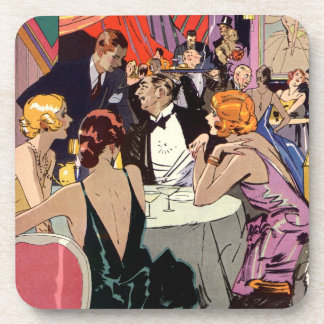 Cóctel del club nocturno del art déco del vintage posavasos de bebidas