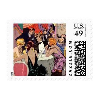 Cóctel del club nocturno del art déco del vintage sello