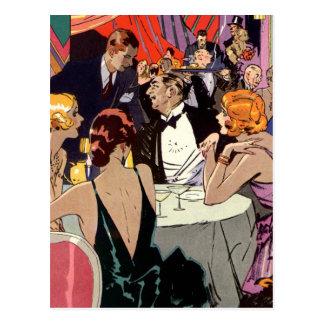 Cóctel del club nocturno del art déco del vintage tarjeta postal