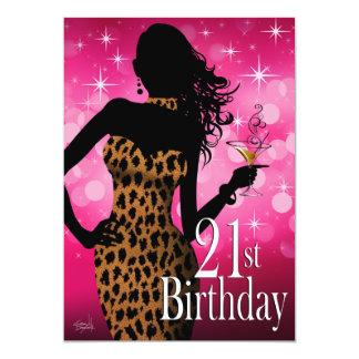 """Cóctel del cumpleaños del leopardo de la chispa de invitación 5"""" x 7"""""""