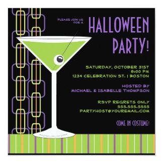 """Cóctel del globo del ojo de Halloween Martini Invitación 5.25"""" X 5.25"""""""