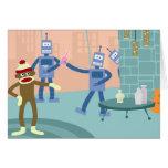 Cóctel del robot del mono del calcetín felicitaciones