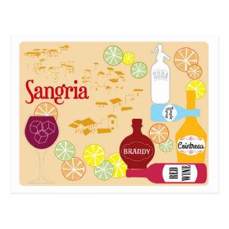 Cóctel del vino rojo de la sangría tarjeta postal