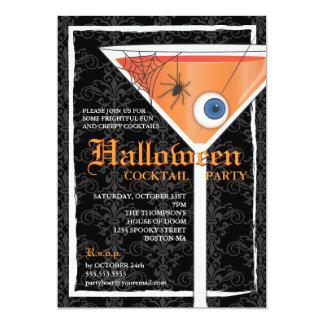 Cóctel negro elegante de Halloween del cordón Invitación 12,7 X 17,8 Cm
