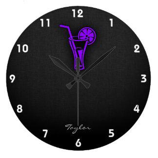 Cóctel púrpura violeta reloj de pared
