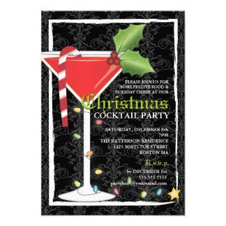 Cóctel rojo elegante del navidad de Martini Invitación
