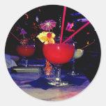 Cóctel tropical de Vegas enrrollado Etiquetas Redondas