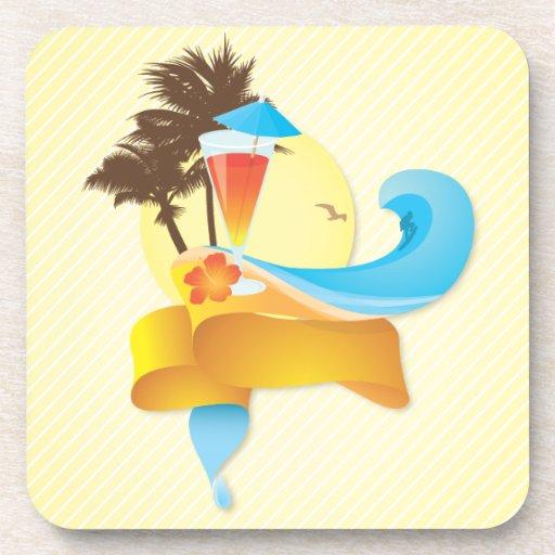 Cóctel y ondas tropicales posavasos de bebida