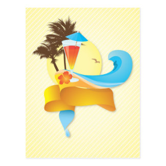 Cóctel y ondas tropicales tarjeta postal