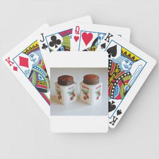 Coctelera de sal y de pimienta del vintage cartas de juego