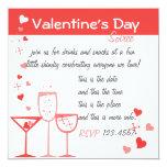 """Cócteles de la tarjeta del día de San Valentín Invitación 5.25"""" X 5.25"""""""