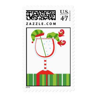 Cócteles del duende del navidad timbre postal