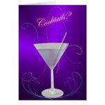 ¿Cócteles púrpuras de Martini? Invitación Tarjeta Pequeña