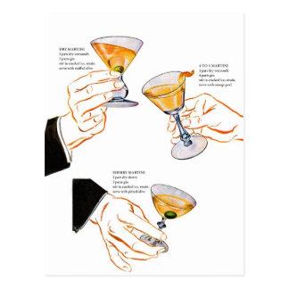 Cócteles retros del kitsch del vintage 3 martinis tarjeta postal