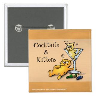 Cócteles y botón del dibujo animado del oro de los pin cuadrado
