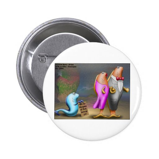 Cod Fishing Beggar Offbeat Funny Gifts & Tees Pinback Buttons