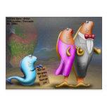 Cod Fishing Beggar Offbeat Funny Gifts & Tees Postcard