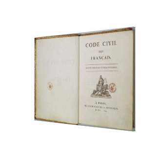 Code Civil, open at the titlepage, 1804 Canvas Print