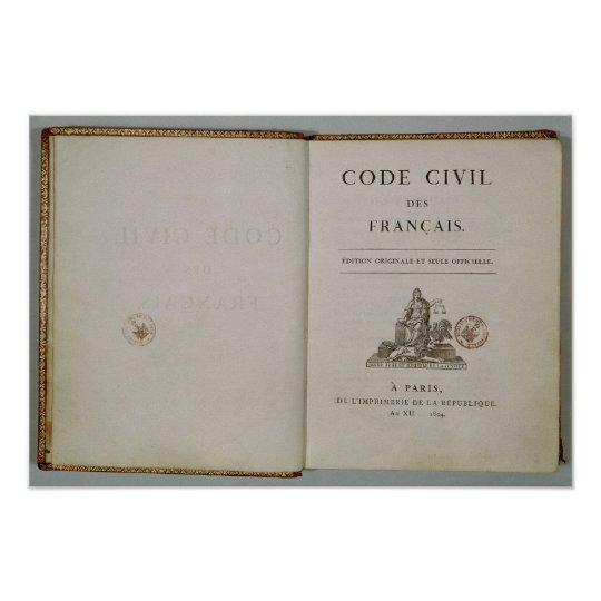 Code Civil, open at the titlepage, 1804 Poster