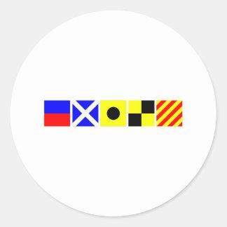 Code Flag Emily Round Sticker