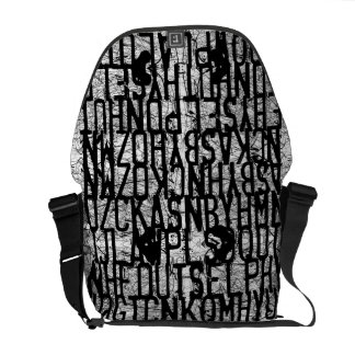 Code Letter Scratch Black Messenger Bag
