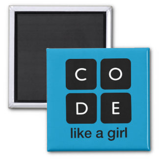 Code Like a Girl 2 Inch Square Magnet
