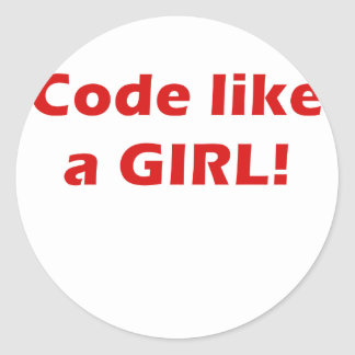 Code Like a Girl Classic Round Sticker