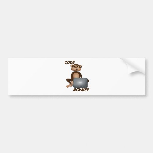 Code Monkey Car Bumper Sticker