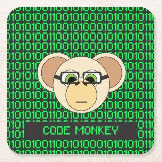 Code Monkey Cartoon Animal Programmer Coder Jungle Square Paper Coaster