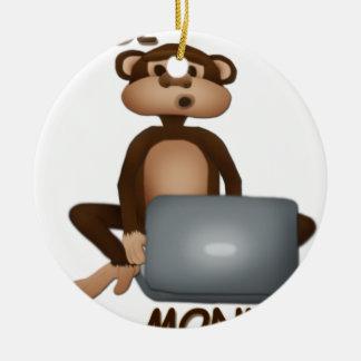 Code Monkey Round Ceramic Decoration