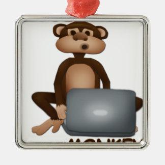 Code Monkey Silver-Colored Square Decoration