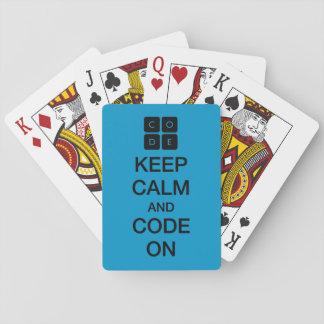 """Code.org """"guarda calma y código en """" cartas de juego"""