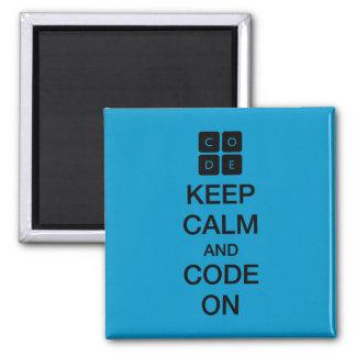 """Code.org """"guarda calma y código en """" imán cuadrado"""