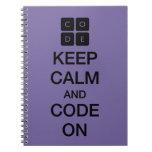 "Code.org ""guarda calma y código en "" libreta espiral"