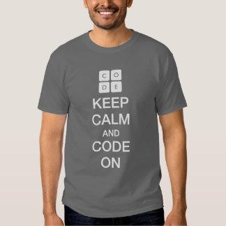 """Code.org """"guarda calma y código en """" playeras"""