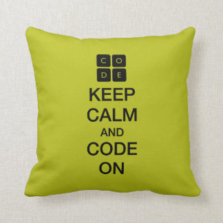 """Code.org """"Keep Calm and Code On"""" Pillows"""